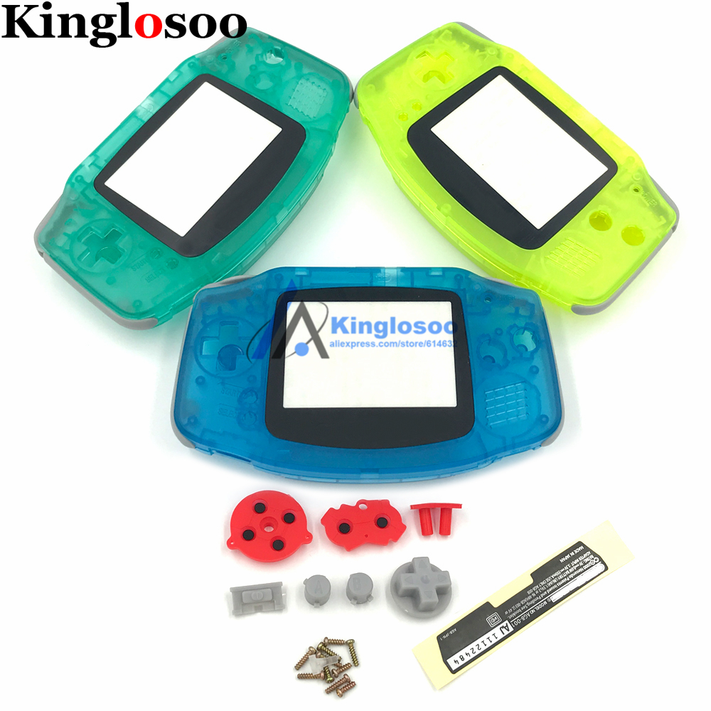 DIY Luminous Full set housing shell cover case w/ conductive rubber pad buttons for Game Boy Advance GBA console