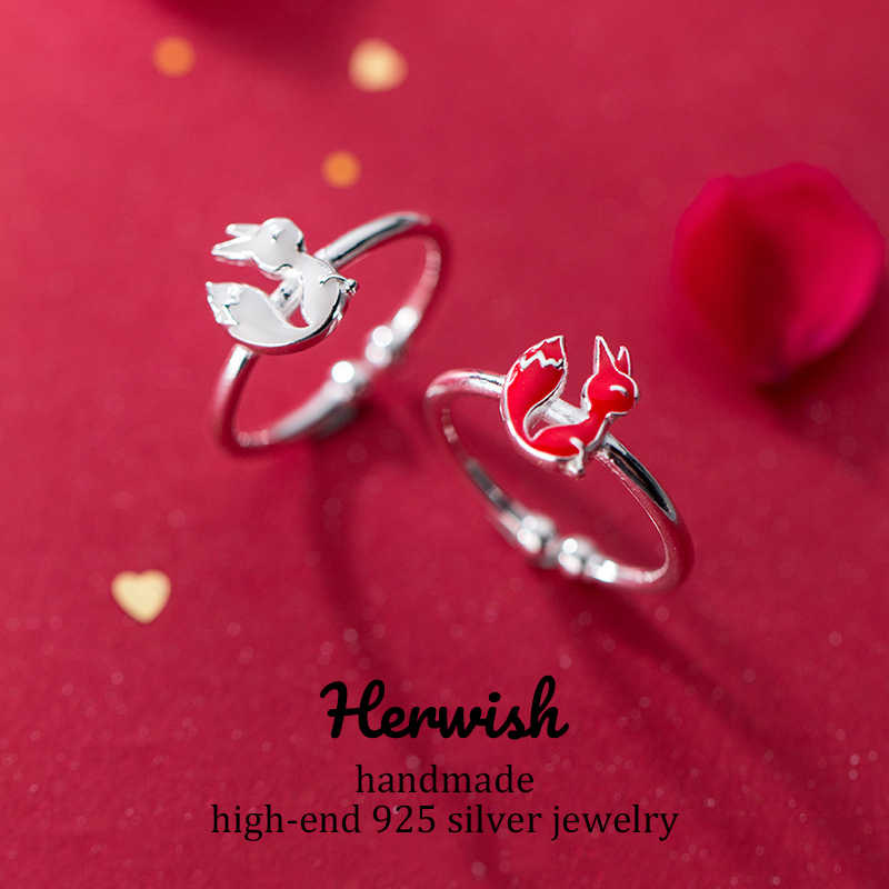Herwish Origin Design The Little Prince Red Fox 925 Sterling Silver Rings for Women Kawaii Korean Party Jewelry Girl Gifts