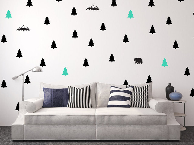 Woodland Trees Bear Wall Decal Giant Full Adventure Decor Camping Nursery Stickers Adesive