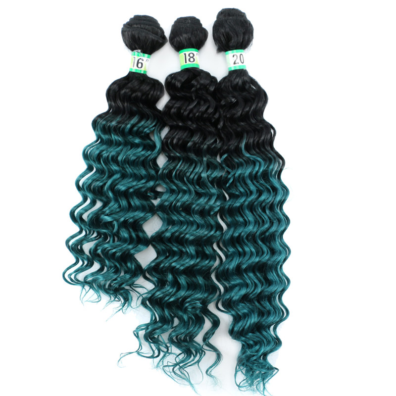 "REYNA Ombre Deep Wave  bundles Synthetic Hair High Temperature Fiber Weave 16""18""20"" Inches available hair extensions for woman(China)"