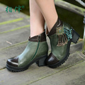 Handmade women ankle boots shoes genuine leather fringed boots elegant comfortable high heeled fashion female boots thick bottom
