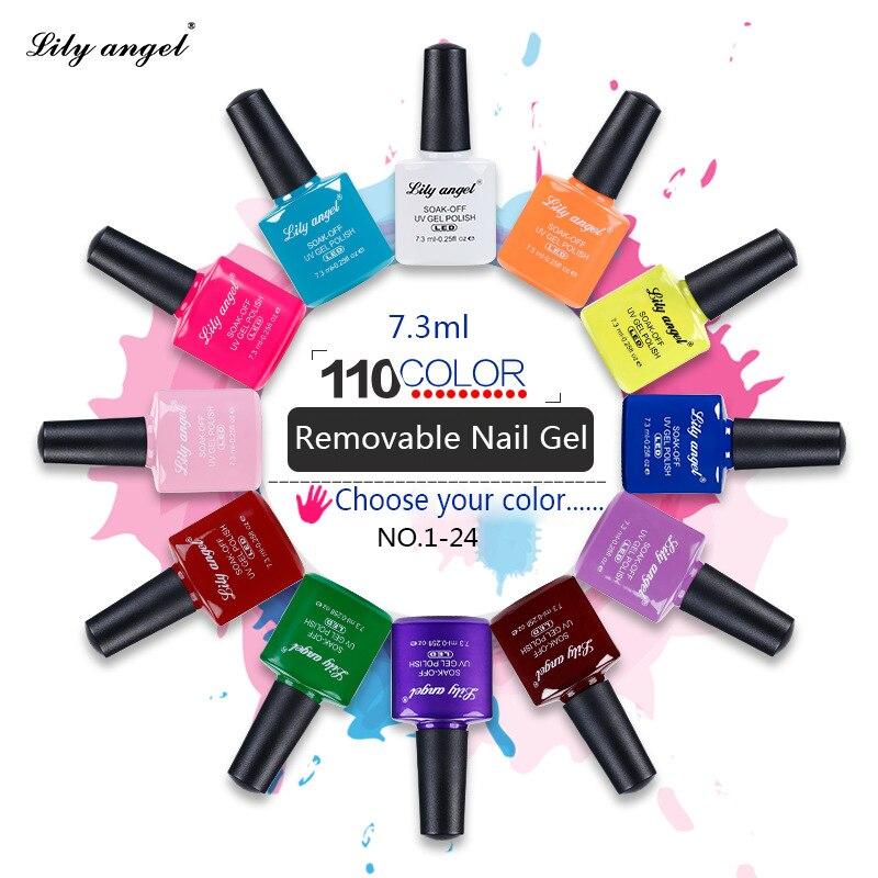 Lily angel 6 Pcs/lot UV Gel Nail Kit Soak Off LED Polish Fashion 110 Color For Design 7.3ml