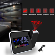 Alarm-Clock Weather-Calendar Projector Time-Watch Multi-Function Digital with Color-Screen