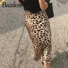 Bazaleas/ ; женская Юбка-миди с леопардовым принтом; винтажные женские юбки с высокой талией; пикантная тонкая юбка; повседневная