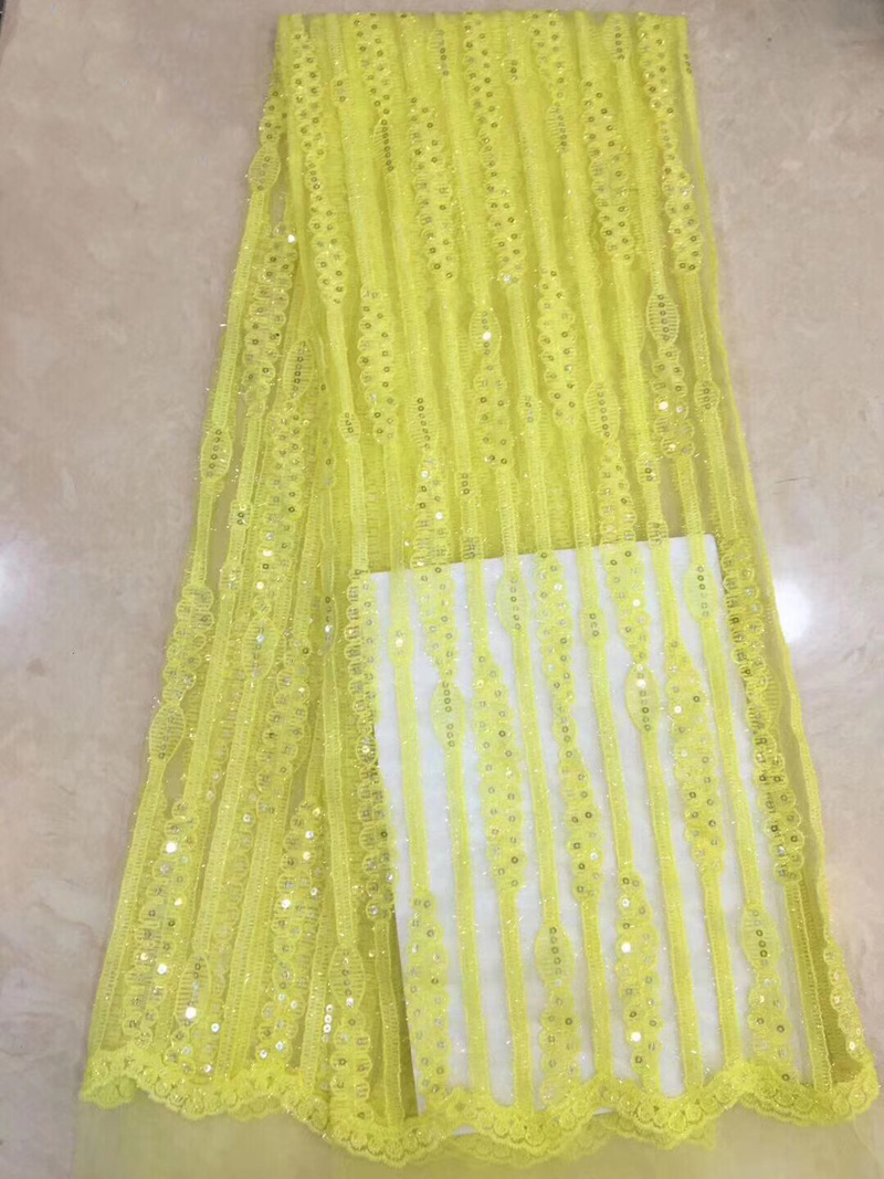 (5yards/pc) High quality yellow color French net lace sequins embroidered African tulle lace fabric for party dress FZZ119(5yards/pc) High quality yellow color French net lace sequins embroidered African tulle lace fabric for party dress FZZ119