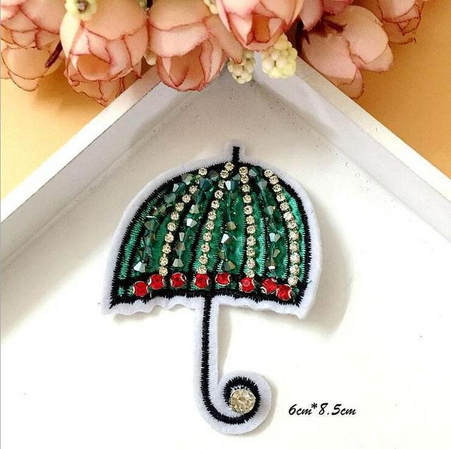 Sequined umbrella Patch for Clothes Sewing on Rhinestone Beaded Applique  for Jackets Jeans Bags Shoes Beading b69ea44b935c