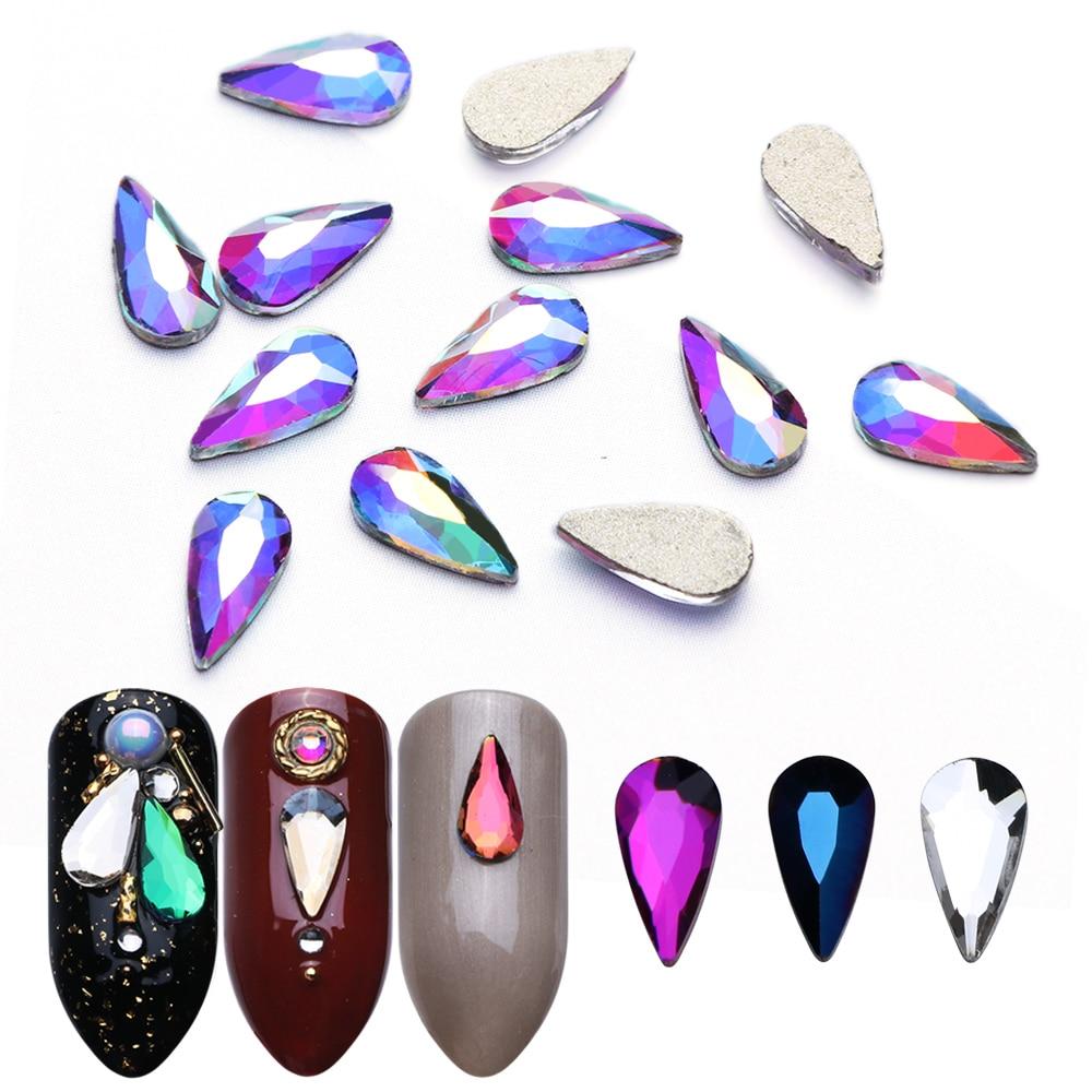 10pcs Nail Crystal Water Drop Flame Nail Art Rhinestones Decoration Flat Back Strass Stones Gems DIY 3D Nail Accessories JIR11