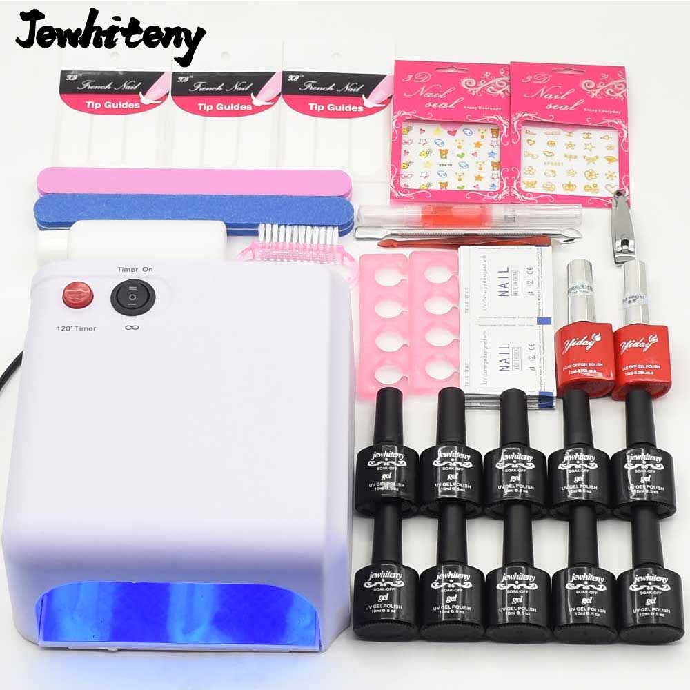 Pro 36W UV GEL Lamp 10 Color soak off UV Gel varnish Nail Art Tools Sets nail manicure tools nail polish kit base top coat Sets pro nail art set manicure tools 36w uv lamp 10 color 7ml soak off gel nail base gel top coat polish remover false nail tips kit