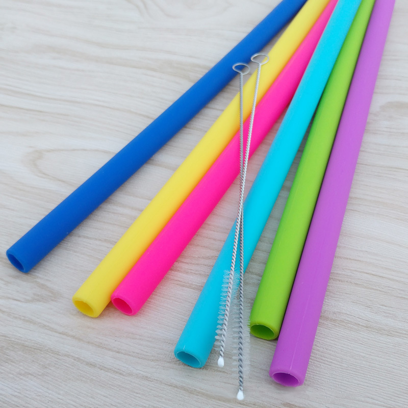 6*Staw+2*Brush Straight and Bent Reusable Straws Silica Gel Drinking Straws With Brush Birthday Party Supplies