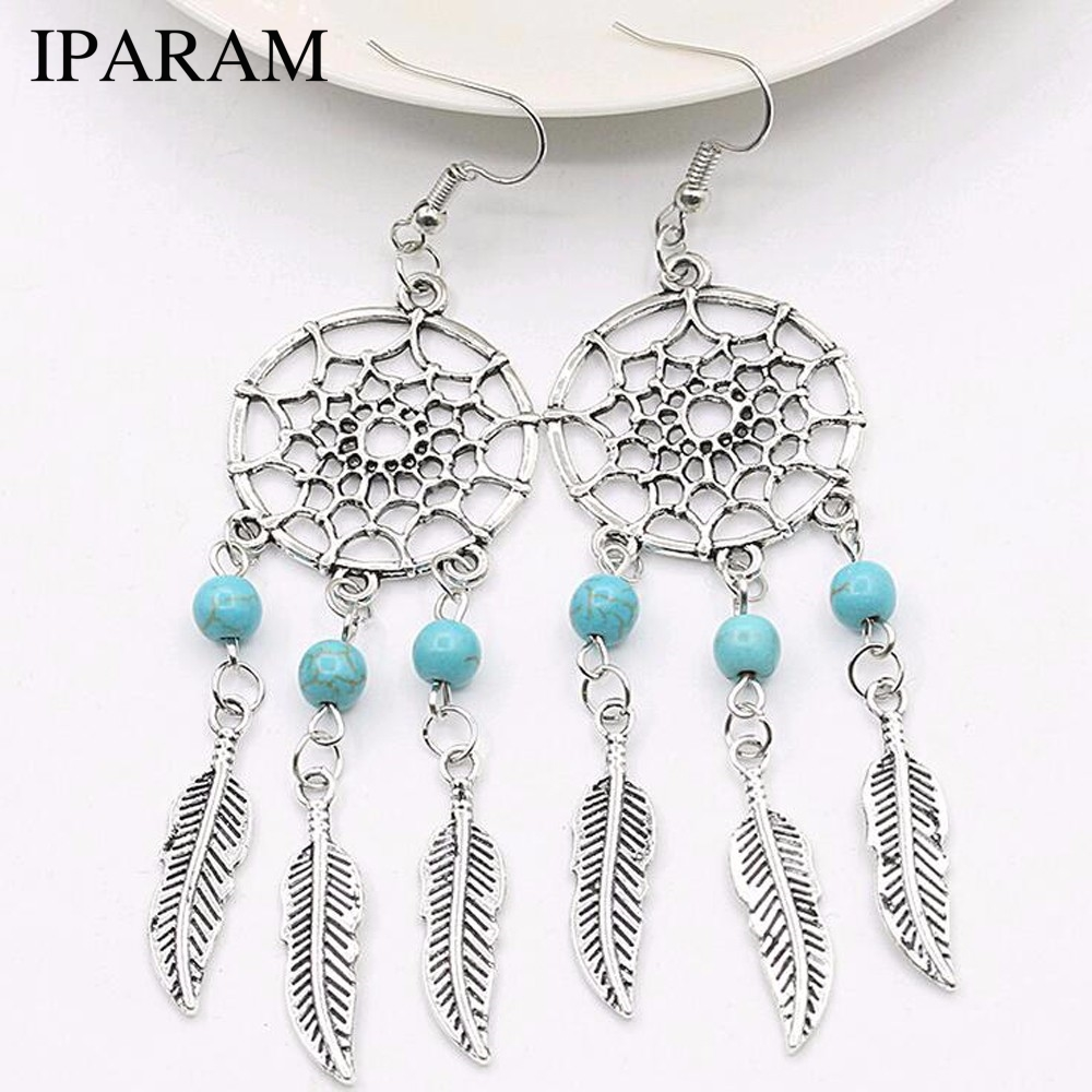 IPARAM 2018 New Fashion Jewelry Vintage Silver Plated Dream Catcher  Earring Gift For Women Girl Jewelry Gift
