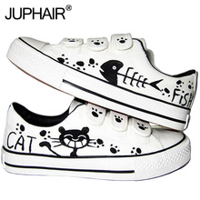New Grinding Tie Shoes Men Males Great Canvas Leisure Boy Girl Hand Painted Flat Shoe Rabbit Starry Cat Fish Breathable Footwear jup men graff boy girl newest despicable me spongebob pattern design hand painted canvas shoes couples high top fashion footwear