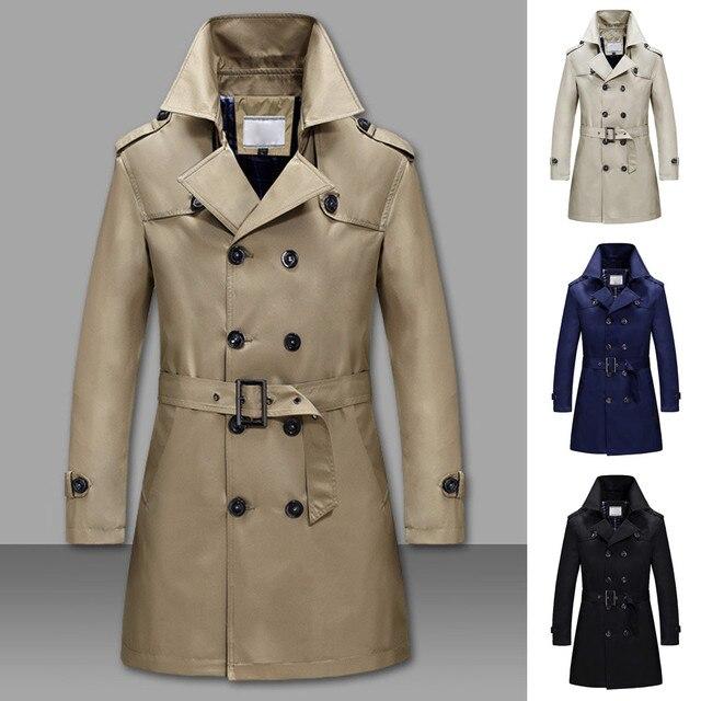 34256048b473 Модные новые мужские однотонные зимние теплые куртки пальто Тонкий длинный  Тренч ...