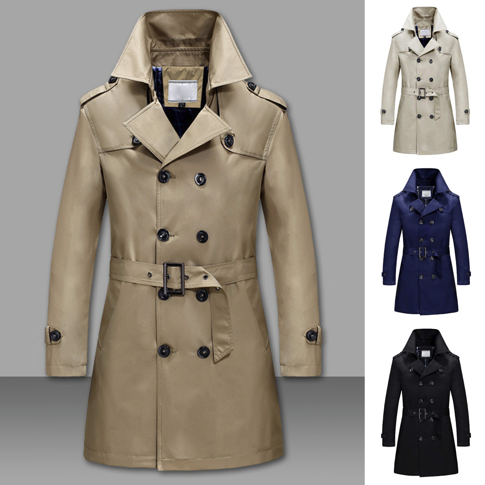 Fashion new Men's Solid Color Winter Warm Jackets Overcoat Slim Long   Trench   Buttons Men Brand Cool Mens Long Outwear