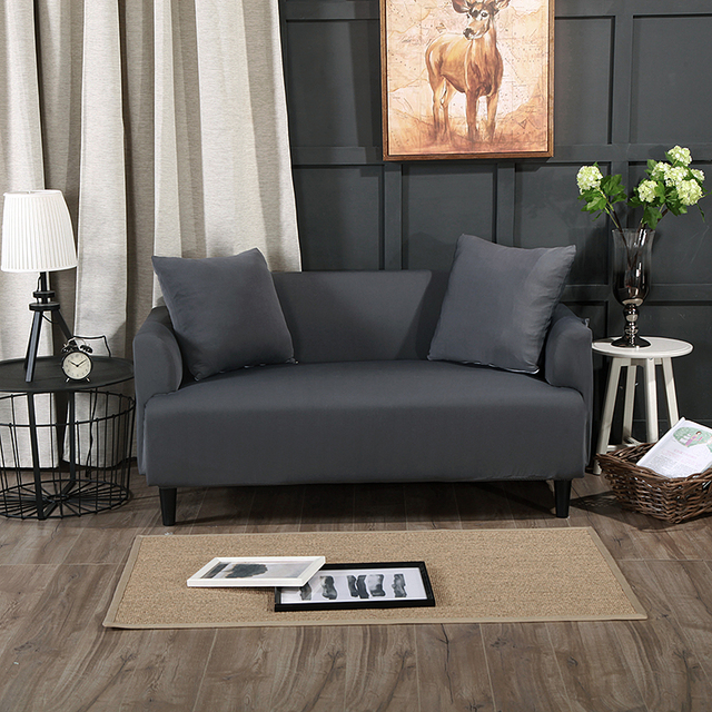 dark grey solid color universal stretch furniture covers for living