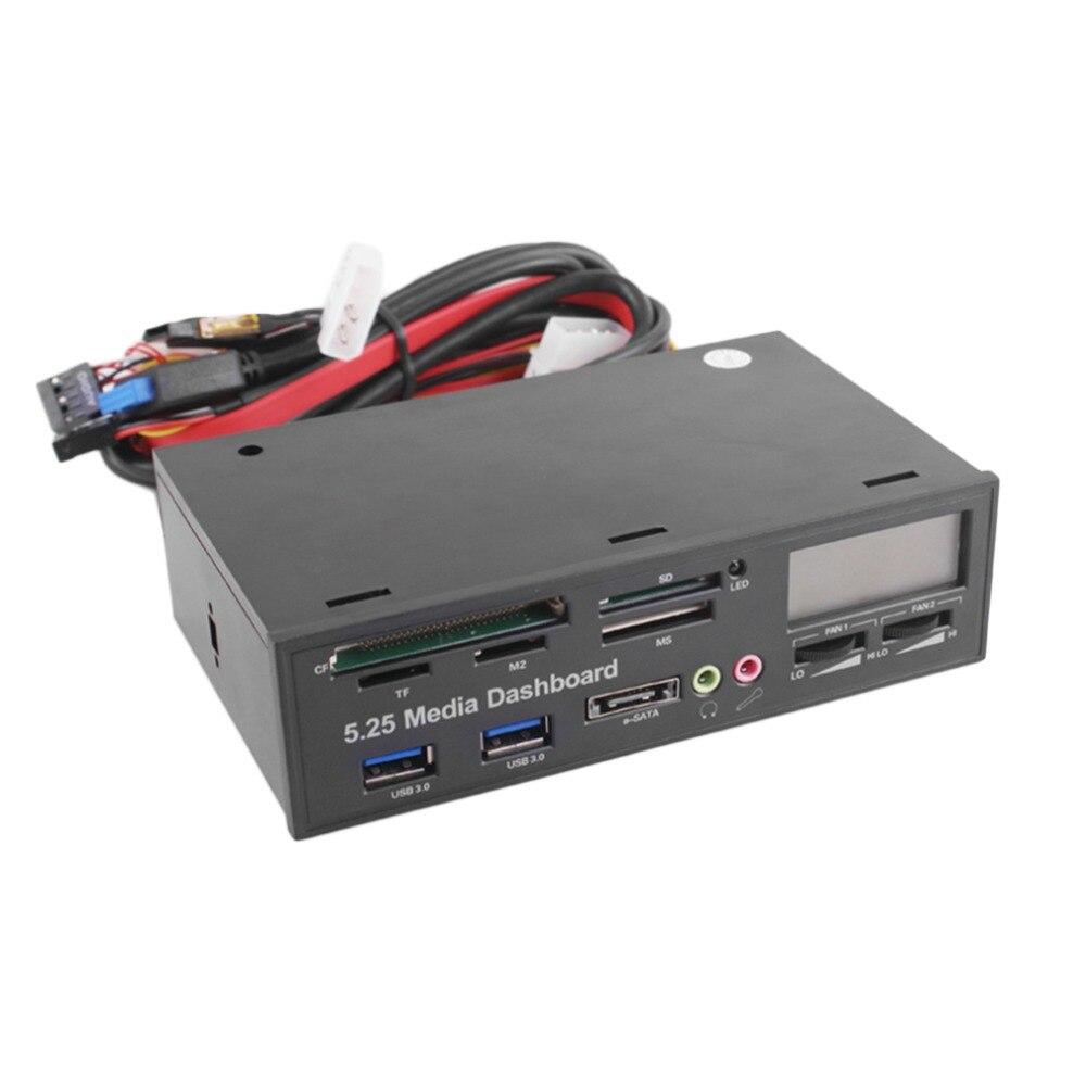 Portátil todo en 1 Dashboard Media 5,25 pulgadas CD ROM Panel multifuncional 525F20 lector de tarjetas USB lector de tarjetas de memoria Flash