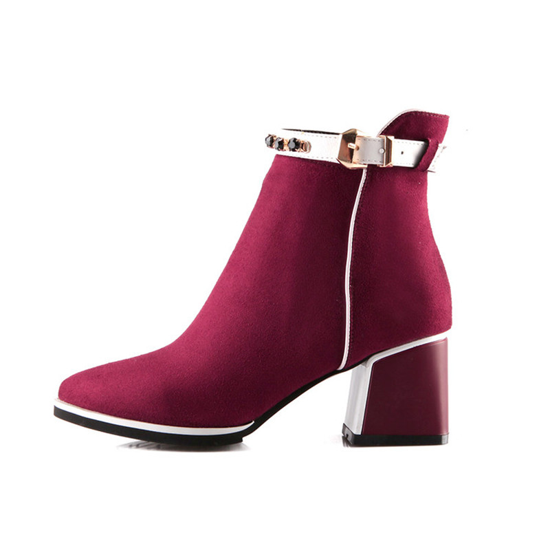 ENMAYLA Flock Pointed Toe High Heels Ankle Boots Women Square Heel Boots Black Blue Red Women Autumn Mixed Color Rivets Boots in Ankle Boots from Shoes