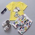 2016 Nova Chegam a Roupa Do Bebê Set de Verão de Algodão Bonito Dos Desenhos Animados Roupas recém-nascidos Meninos Meninas Manga Curta T-shirt + Calças Kid terno