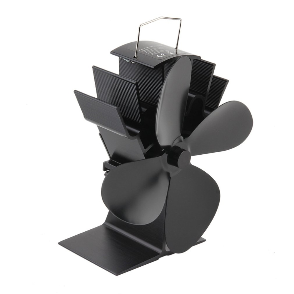 Durable 4 Blades Aluminum Black Heat Powered Stove s
