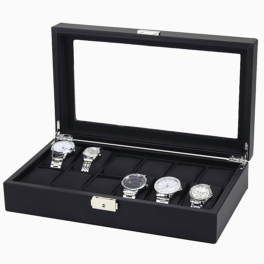 12 Grid Carbon Fiber Fashion Black Watch Bands Box Refinement Slots Wrist Watches Gift Case Jewelry Display Boxes Storage