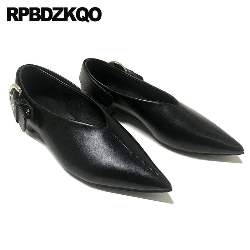 Señoras China Chino Zapatillas Marca 41 Diseñador Tamaño Grande Últimas De Deslizamiento En Planos Zapatos Metal Negro Punta Mujeres Mulas 2018 vfqwRq5