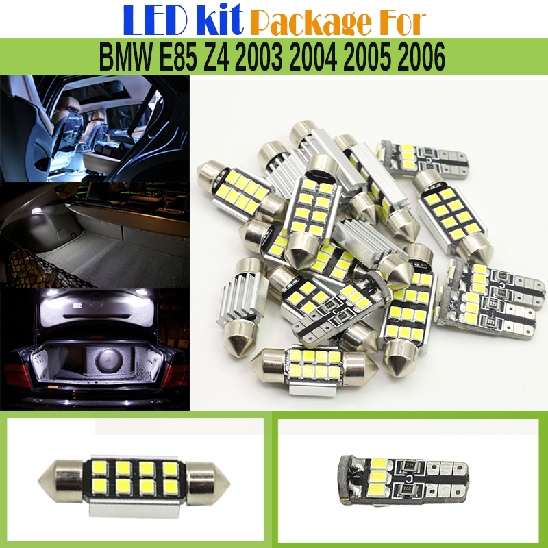Car No Error LED Kit Package White 2835 SMD Interior LED Bulb Dome Map License Plate Glove Box Light For BMW E85 Z4 2003-2006 super bright car styling 9pcs car led kit interior glove box light for 2014 2015 kia sorento trunk dome map license plate lights