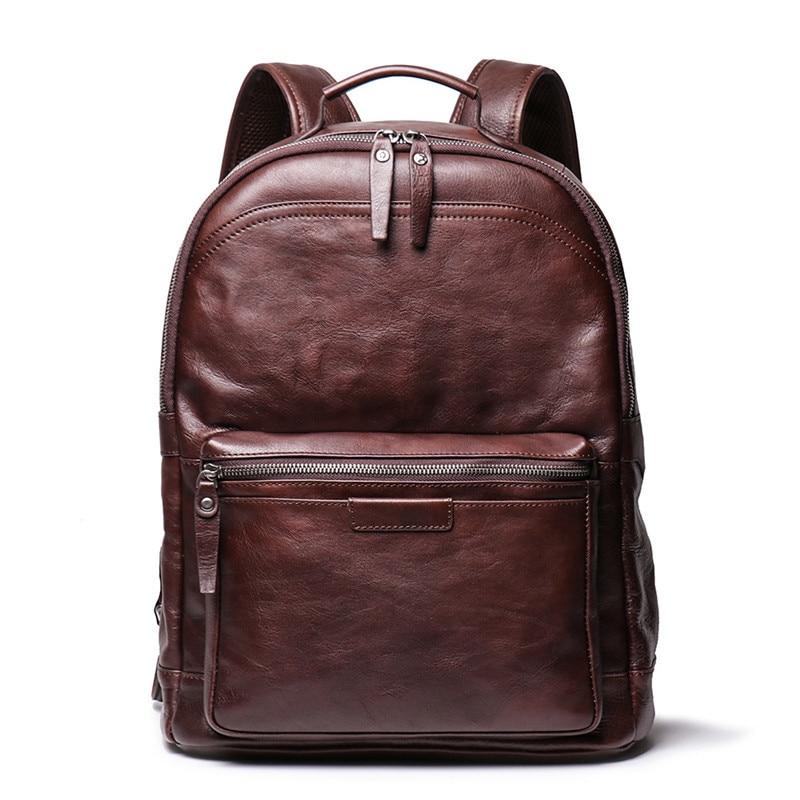 Nesitu High Quality New Vintage Brown Coffee Full Grain Genuine Leather 14'' Laptop Women Men Backpack Male Travel Bags M88120