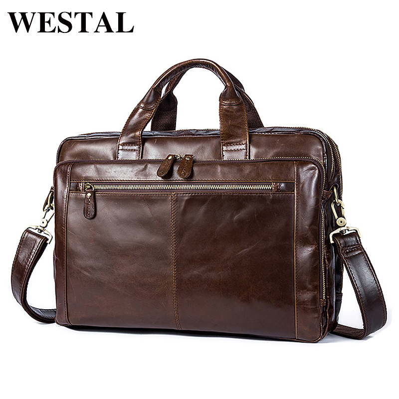 WESTAL Messenger Bag Men Genuine leather shoulder bags man Business male briefcases bag for laptop documents