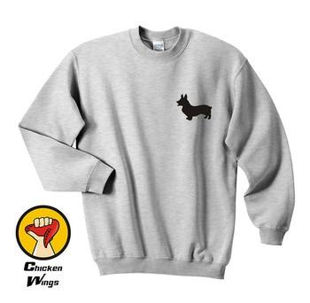 Corgi Sweatshirt Dog Welsh Shirts Pocket Lover Pet Grey -D156