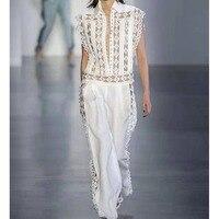 Cosmicchic Летние Элегантные выдалбливают заклёпки вышивка белый Комбинезоны для женщин для взлетно посадочной полосы пикантные
