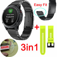 3in1 Easy Fit For Garmin Fenix 5 Watch Stainless Steel Strap FOR Forerunner 935 Band Sport