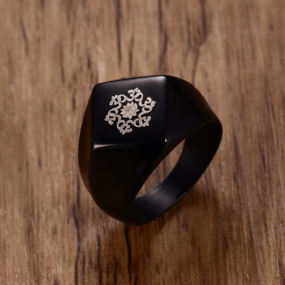 Meaeguet 16mm Wide Punk Mandala Lotus Flower Ring Men Stainless Steel Om Symbol Buddhism Jewelry Anillos
