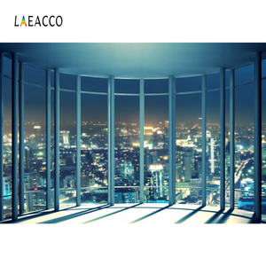 Image 2 - Laeacco Modern City Night Buildings French Window Photography Backdrops Photo Backgrounds Interior Decor Photocall Photo Studio