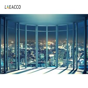 Image 2 - Laeacco fondos de fotografía de ventana francesa, edificios de ciudad de noche modernos, fondos de fotografía, decoración Interior, estudio fotográfico, Photocall