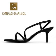 KATELVADI Gladiator Sandals Summer Black Flock Party 7CM High Heels Shoes Woman Fashion Women Wedding Size 35-40 K-372