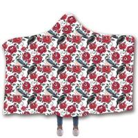 Anti Samely Scarves & Wraps Hooded Blanket 3D Print Flower eyeball hooded poncho scarf shawl manteau femme hiver