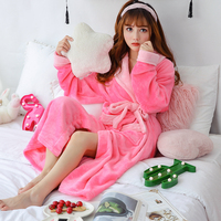 386471ad7f369d6 Thick Warm Mink Cashmere Robes For Women 2019 Winter Fashion Korean Long  Sleeve Coral Velvet Bathrobe