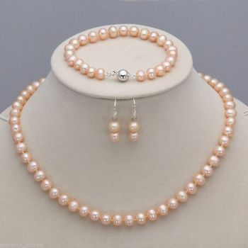 Envío al por mayor> Nuevo caliente genuino 6-7mm Natural rosa perla collar pulsera gancho pendientes conjunto