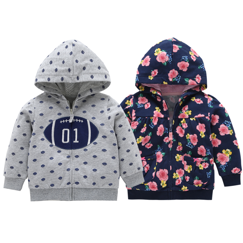 2018 Rushed New Carters Menino Autumn Winter Warm Baby Clothes Girls Sleeve Hoodies Boy Sweatshirt With Zipper Dot Outfits