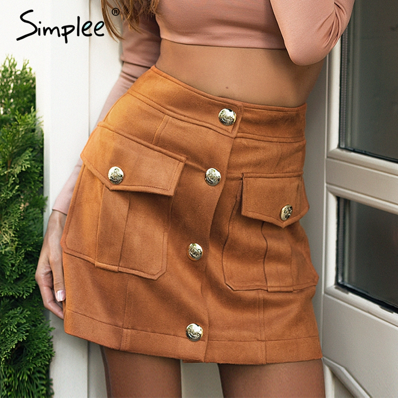 Simplee Suede A-line Pockets Mini Skirt Single Breasted High Waist Women Skirt Club 2018 Autumn Winter Casual Skirts High Street