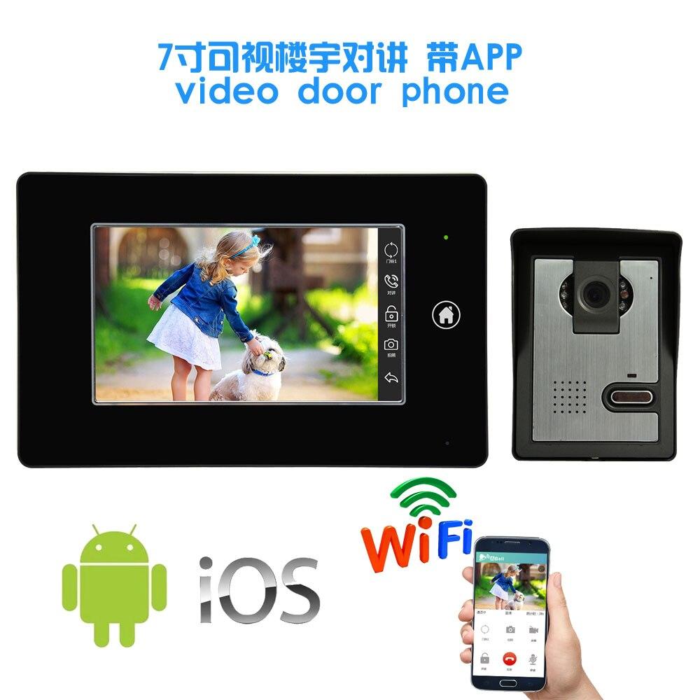 Новый продукт 7 дюймов монитор провод видео дверь телефон с WIFI приложения мобильный телефон Функция управления камеры безопасности дверной