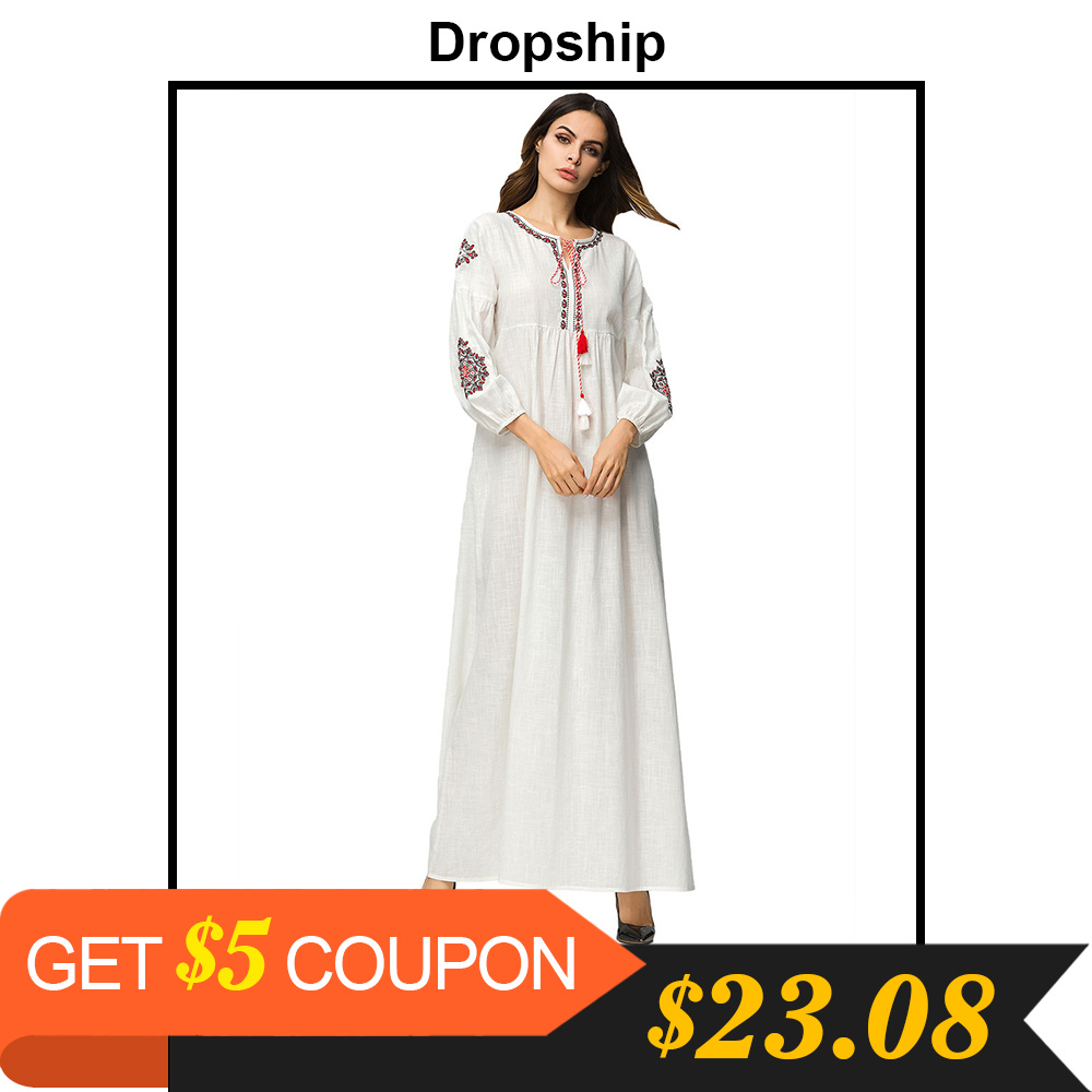 ae08c299b2 Dropship Dress Women Dresses Maxi Long Plus Size Vintage Vestidos Verano  2019 Robe Femme Embroidery Tassel