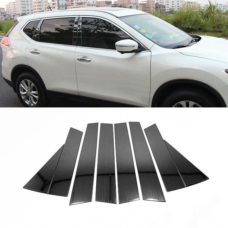 For Nissan Rogue X-Trail X Trail XTrail T32 2014-2018 Stainless Steel striped black style Door Window Pillar Posts Cover Trim 8sFor Nissan Rogue X-Trail X Trail XTrail T32 2014-2018 Stainless Steel striped black style Door Window Pillar Posts Cover Trim 8s