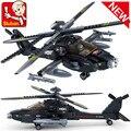 Sluban B0511 del plano de aire negro Utility AH-64 helicóptero 3D construcción de plástico modelo Building Blocks ladrillos Compatible con Legoe