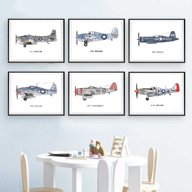 Nursery Decoration Vintage Airplane Watercolor Posters And Prints Airplane Kids Room Wall Art Canvas Painting Pictures Decor