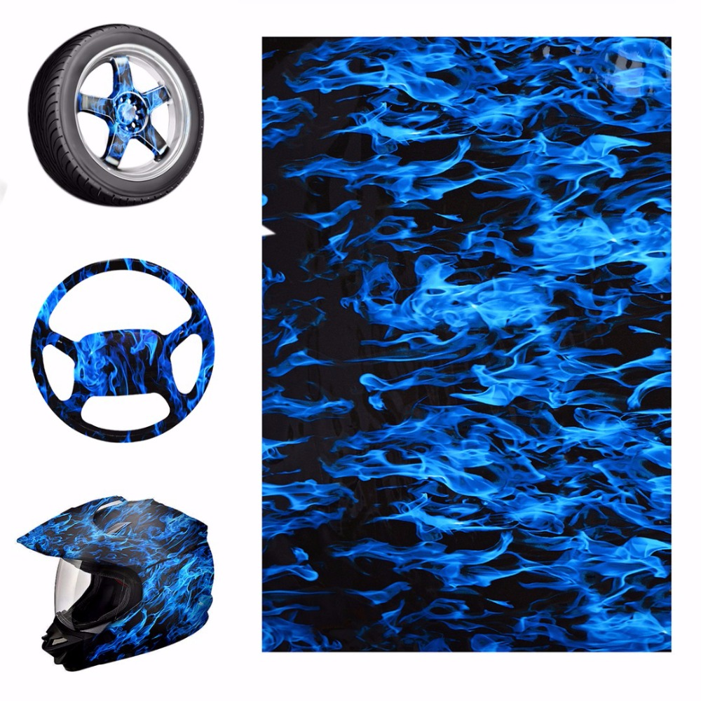 Blue Fire Style Hydrographic Water Film Pva Water Transfer Printing Films Motorbike Helmet Decor Decal 50x100cm