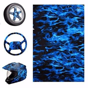 Mavi Yangın Tarzı Hidrografik Su Filmi PVA Su Transfer Baskı Filmleri Motosiklet Kask Dekor Çıkartması 50x100 cm