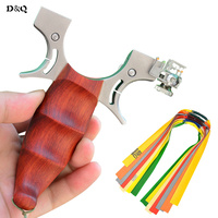 Catapult Slingshot Hunting Fishing with 10 Pcs Rubber Band Powerful Wood Stainless Steel Sling Shot for Outdoor Shooting