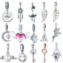 INBEAUT-dijes de llave y corazón para mujer, de plata 925, piedras rosas románticas, perlas blancas, alas de Ángel, cuentas, pulsera de marca