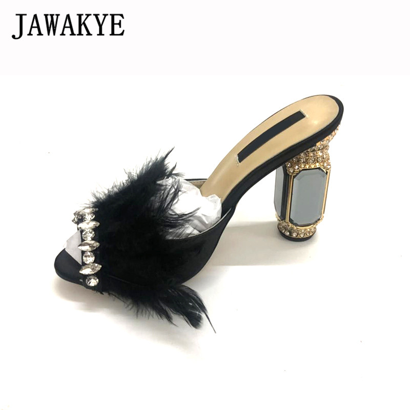 New Feather Shoes Women Glass Rhinestone Heels Sandals Women Chunky high heel slippers black purple Crystal Fur Party Shoes