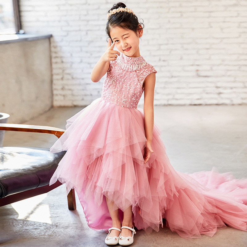 High Low   Flower     Girl     Dresses   for Weddings 2018 Pink First Communion   Dress   for Little Baby Kids Evening Gowns Pageant   Dresses